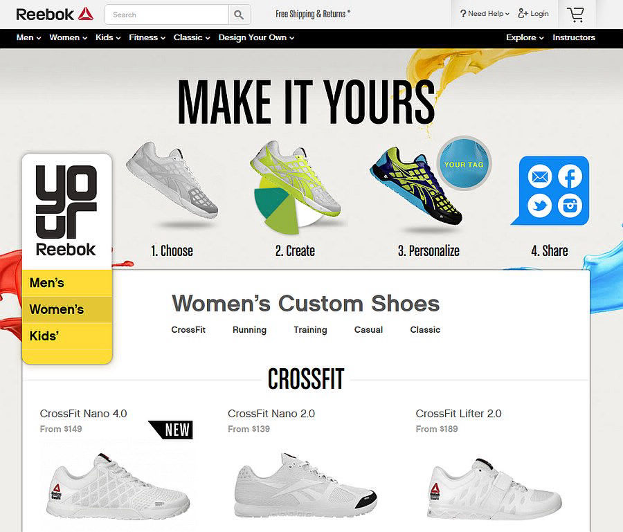reebok customizable shoes